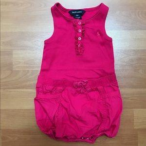 Ralph Lauren Girls Pink Shorts Romper Size 18 m
